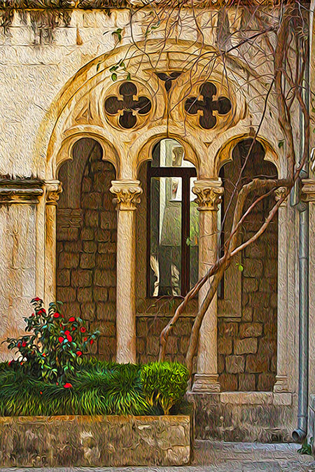 """Franciscan Courtyard,"" Print Special Effects, Vandy Vandervort"