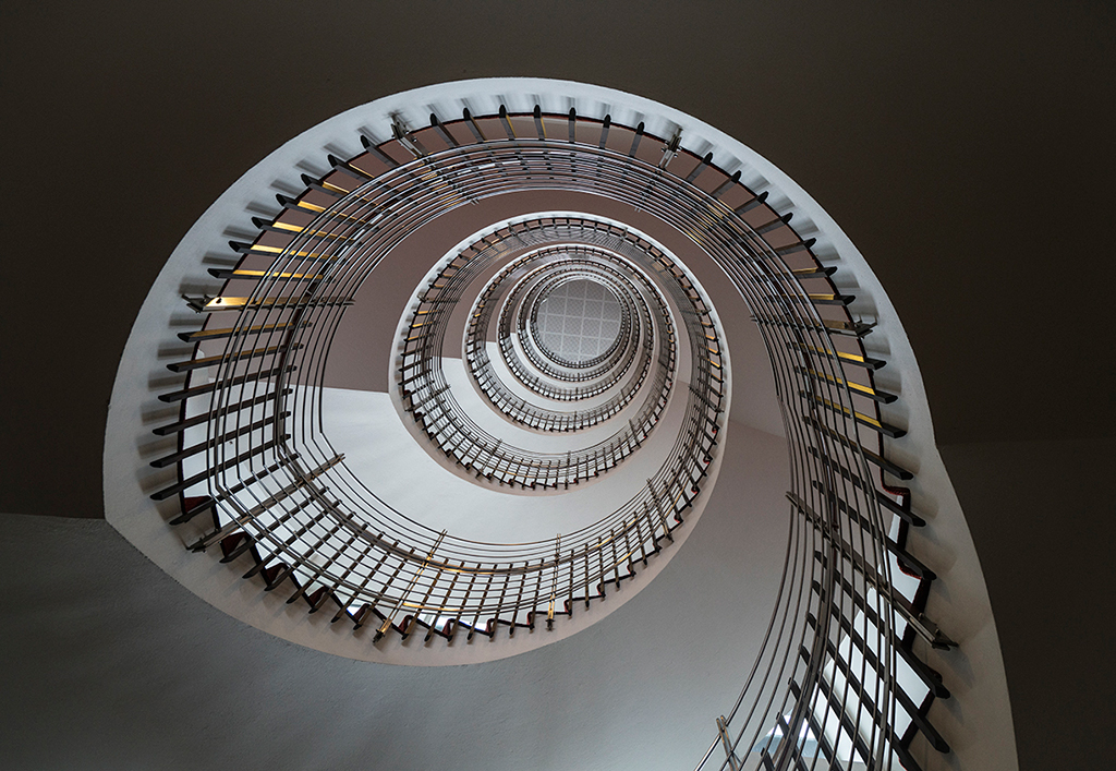"Award, Print Realism, ""Spiral Staircase,"" Bruce Henderson"