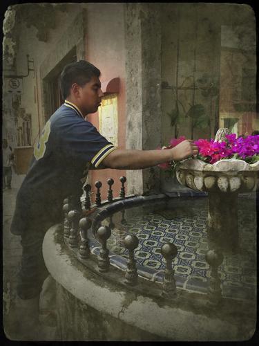 Mexican Boy at Fountain